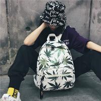 彩色树叶涂鸦双肩包女韩版个性情侣大学生书包男高中学生背包潮包