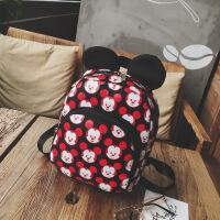 -岁儿童双肩包 男女宝宝轻便旅游小背包迷你可爱米奇幼儿园书包 红配黑
