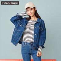 美特斯邦威牛仔外套女2017冬季新款短款bf男友风韩版学生夹克衫