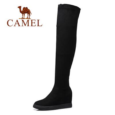 camel骆驼女鞋 新款 过膝长靴弹力靴长筒内增高时尚女靴