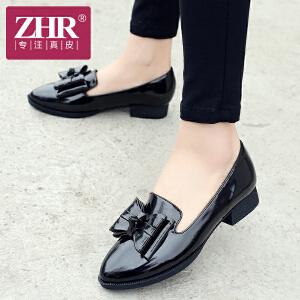 ZHR2017春季新款韩版浅口单鞋粗跟低跟休闲鞋学院风女鞋蝴蝶结J15