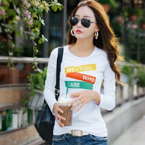 春秋新款韩版修身纯棉长袖女t恤女装打底衫秋季上衣体恤衫WK0159