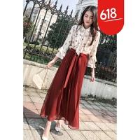 时髦套装女春装2018新款省心搭配女装韩版衬衫配裙子两件套裙春季GH17 红色