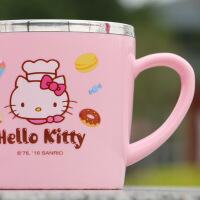 HelloKitty凯蒂猫婴儿童带盖不锈钢防烫保温口杯幼儿带手柄水杯子