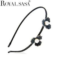 皇家莎莎压发箍 头饰品日韩版时尚发卡子女小花朵头箍合金人造水晶发箍发饰