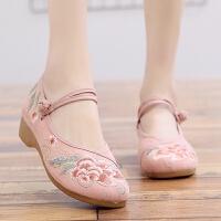 汉服鞋子布鞋搭配古装民族风复古坡跟刺绣花鞋女古风舞蹈鞋