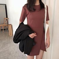 韩版个性短袖连衣裙女夏季百搭中长款修身开叉纯色裙子潮 均码