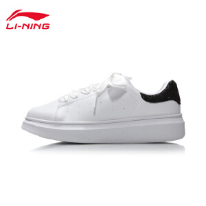 李宁休闲鞋女鞋新款耐磨防滑休闲板鞋小白鞋滑板鞋春秋运动鞋AGCM232