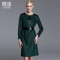 颜域品牌女装2017秋冬新款优雅绿格纹亮丝拼接圆领长袖H型连衣裙