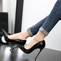 16浅口伪娘大码高跟鞋细跟尖头变装情趣白领鞋OL空姐女单鞋婚鞋 黑色 12cm