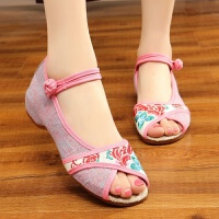 夏季新款老北京布鞋女单鞋民族风绣花鞋坡跟时尚鱼嘴鞋凉鞋布凉鞋
