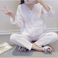 薄款纯棉纱双层纱布月子服韩国春秋产妇孕妇哺乳睡衣长袖喂奶夏季