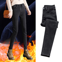 黑色牛仔裤女秋冬季2018新款韩版显瘦高腰加绒加厚裤子紧身小脚裤