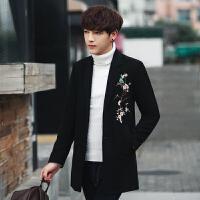 冬装男式韩版修身绣花毛呢中长款大衣潮流英伦青年高质呢外衣套