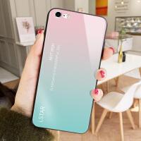 苹果7手机壳iPhone7plus玻璃pg8硬壳i6s潮8pius保护套ip10男X女pingg6个 6/6s 粉蓝渐