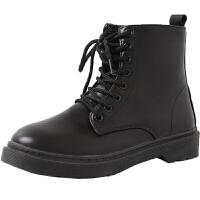 靴子女秋季2019新款chic马丁靴女英伦风短靴秋鞋复古帅气机车靴潮 黑色