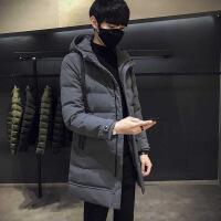 冬季男士棉衣韩版中长款羽绒棉冬装棉袄外套冬天加厚袄子潮 灰色 M