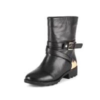 菲伯丽尔冬季牛皮金属皮带扣圆头中跟短靴女鞋FB44118437