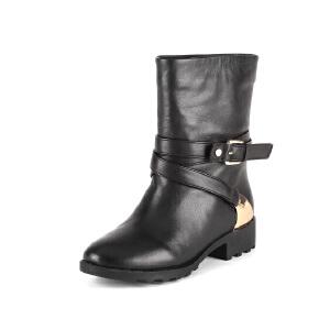 【3折到手价149.7元】菲伯丽尔冬季牛皮金属皮带扣圆头中跟短靴女鞋FB44118437