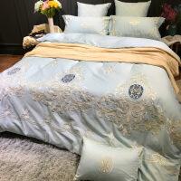 【人气】放心购 卡瑞娜60支长绒棉贡缎四件套欧式重工刺绣床上用品全套样板房美式