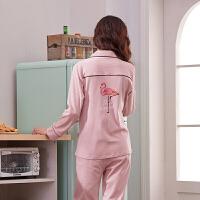 睡衣女秋韩版清新学生甜美可爱可外穿纯棉长袖大码两件套装家居服 (长袖)1700粉色火烈鸟