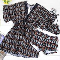 性感泳衣女士大码平角比基尼三件套民族风温泉韩国小香风聚拢泳装