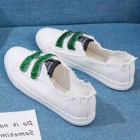 夏季女鞋浅口帆布鞋女学生韩版魔术贴懒人鞋一脚蹬休闲平底鞋单鞋SS