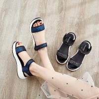 凉鞋女2019夏季新款鞋子韩版平跟沙滩鞋百搭休闲厚底松糕凉鞋学生平底女鞋