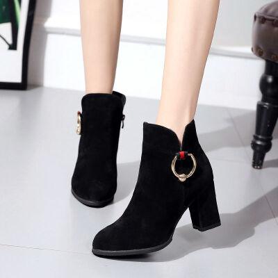 女鞋短靴高跟鞋女粗跟2019秋冬新款尖头磨砂加绒时尚百搭女单靴子