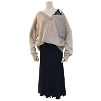 秋冬大码女装胖妹妹胖mm蕾丝拼接假两件毛衣高腰针织半身裙套装女