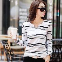条纹长袖棉T恤女春秋新款修身V领白色体恤女长袖修身显瘦打底衫女WK0177