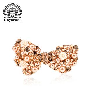 皇家莎莎RoyalSaSa头饰 韩国新娘公主发卡 结婚饰品合金人造水晶横夹 发夹发饰-香艳香槟
