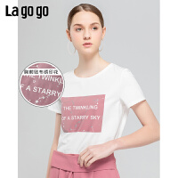 Lagogo/拉谷谷2019新款简约圆领字母印花T恤女IATT314A07