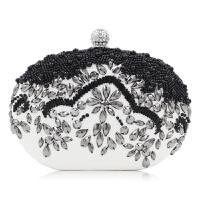 手拿包女迷你型小挎包欧美黑色珠绣晚宴包 手工珍珠镶钻晚装包手拿包女包 黑色