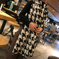 №【2019新款】韩国厚实秋锁边大千鸟格女士仿羊毛羊绒围巾百搭加大披肩 大千鸟格