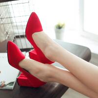 彼艾2018春夏新款欧美浅口简约通勤时尚粗跟女鞋尖头高跟鞋单鞋大小码女鞋子