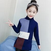 女童毛衣套头儿童中长款撞色针织打底衫宝宝