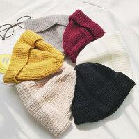 毛线帽子女冬天针织帽学生潮瓜皮帽子雅痞地主帽