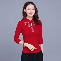 民族风上衣绣花盘扣长袖T恤女修身打底衫中国风T恤女