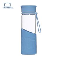 LOCK&LOCK乐扣乐扣 MyBottle MyColor硅胶杯套耐热玻璃水杯 LLG673MB 蓝色