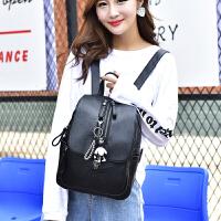 双肩包女韩版软皮时尚背包大容量妈咪包学生书包旅行包潮 黑色