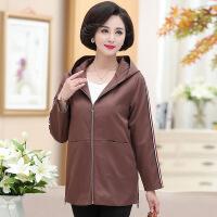中老年女装风衣40岁50中年妈妈秋装外套休闲纯色上衣新款宽松风衣