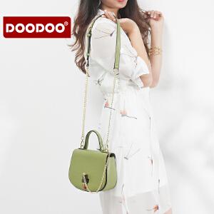 【支持礼品卡】DOODOO 女包2017新款潮韩版时尚手提单肩斜挎小包简约百搭女马鞍包 D7003