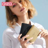 aza2019新款钱包女短款简约方形小钱包横款百搭时尚折叠卡包钱夹
