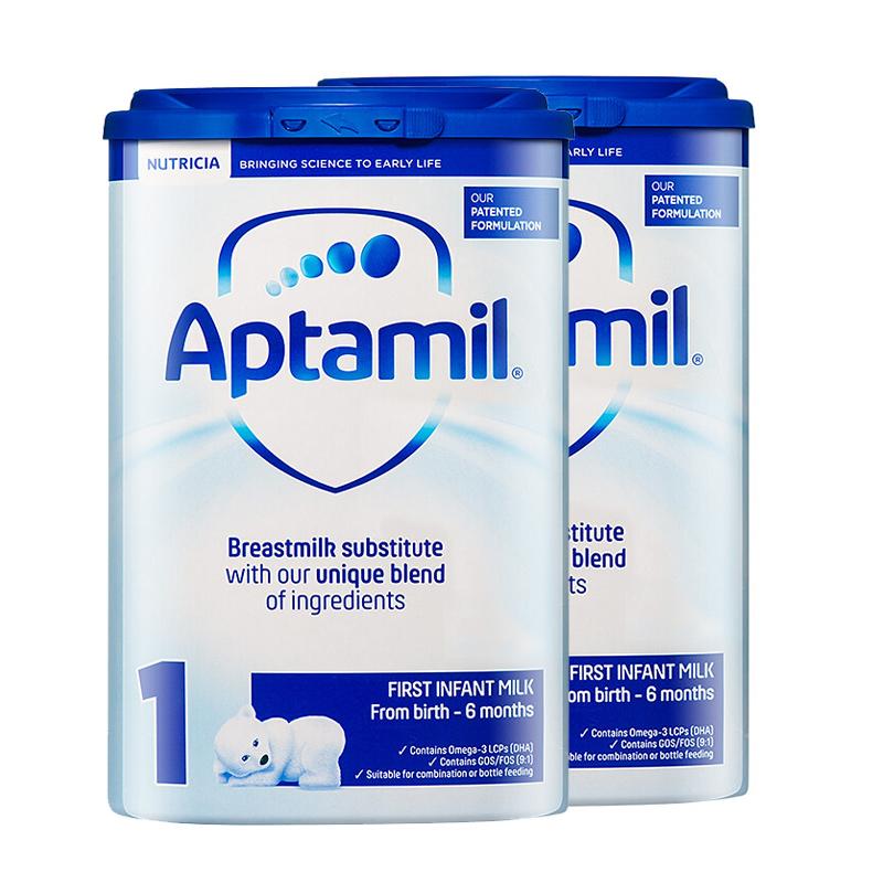 【1段普通】保税区发货 英国Aptamil爱他美 英爱普通婴儿奶粉 一段(0-6个月) 800g*2罐 海外购 新老包装随 机发货