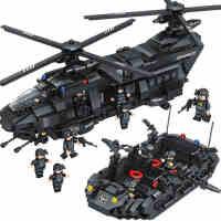 群隆特警战队儿童小颗粒拼插拼装军事积木 玩具6-10-12岁