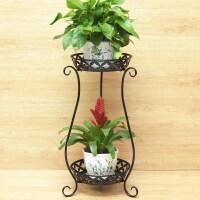 欧式铁艺多层花架绿萝吊兰阳台花架子地面客厅室内落地花盆架 黑色(两层 高70cm)花瓶款