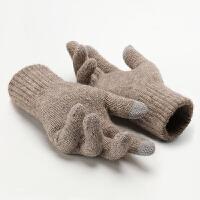 毛绒触屏手套男士冬季加绒保暖户外开车学生骑行