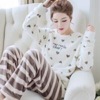 韩版家居服冬天套装甜美可爱大码珊瑚绒睡衣女秋冬厚长袖法兰绒
