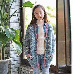 韩版童装中长款女童加厚毛衣外套针织毛衣开衫亲子装